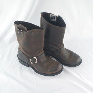 Frye | Dark Brown Engineer Moto Leather Boot - 7.5